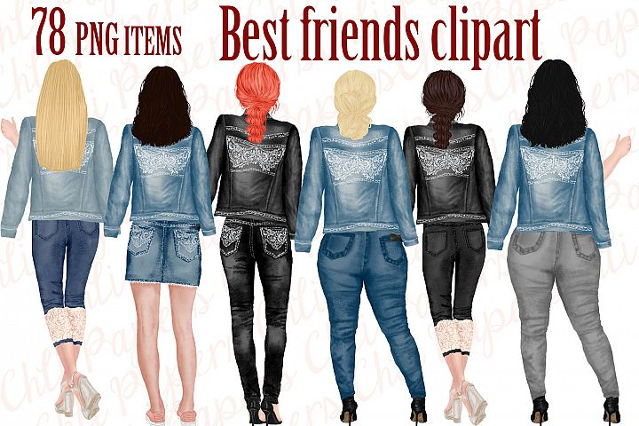 Best Friends Clipart,Jeans and legs,Plus size girls,Planner