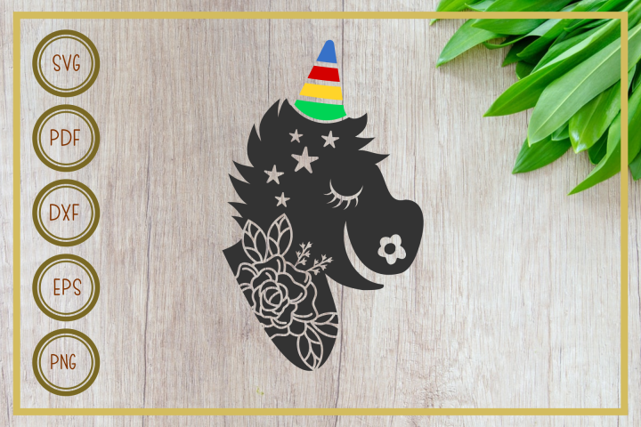 Unicorn svg, Unicorn with Floral, instant download, cut file