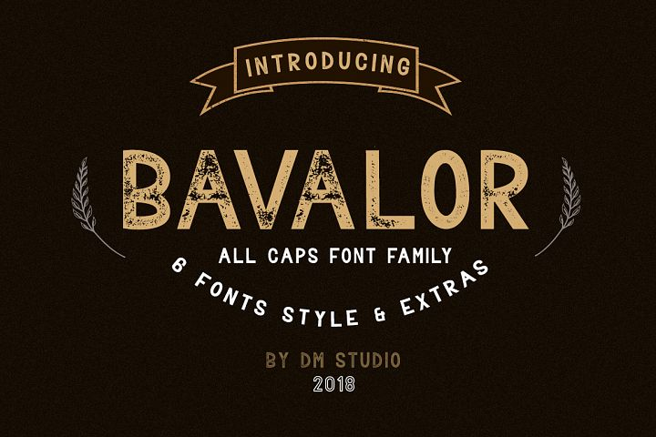 BAVALOR - ALL CAPS FONT FAMILY WITH EXTRAS