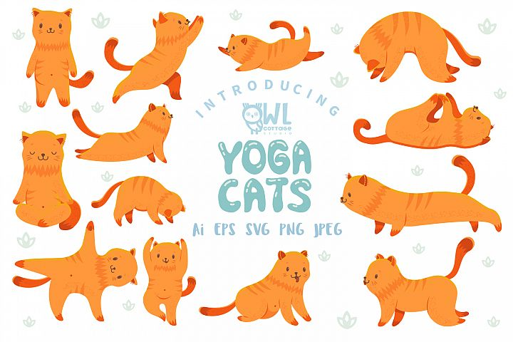 Yoga Cats Clipart Collection