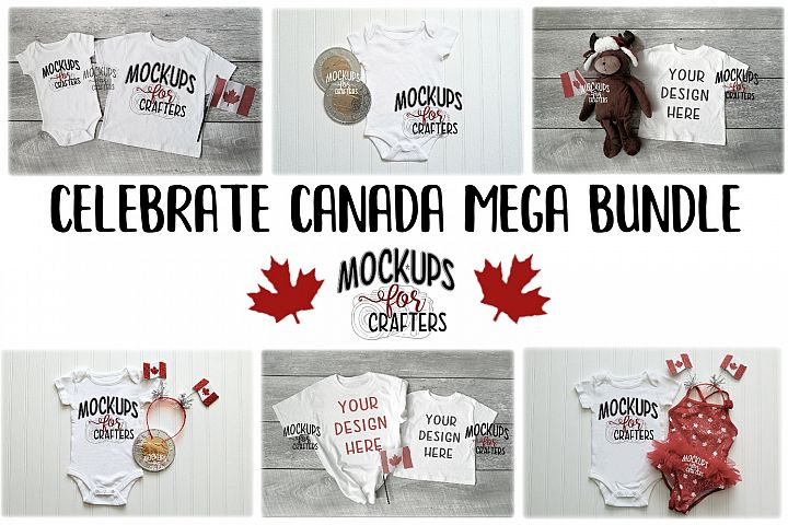 MOCK-UP BUNDLE CANADIAN THEME - BABY BODYSUITS, T-SHIRTST