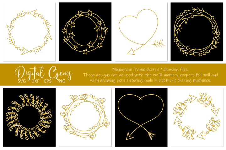 Monogram frame, single line sketch files. Foil quill designs