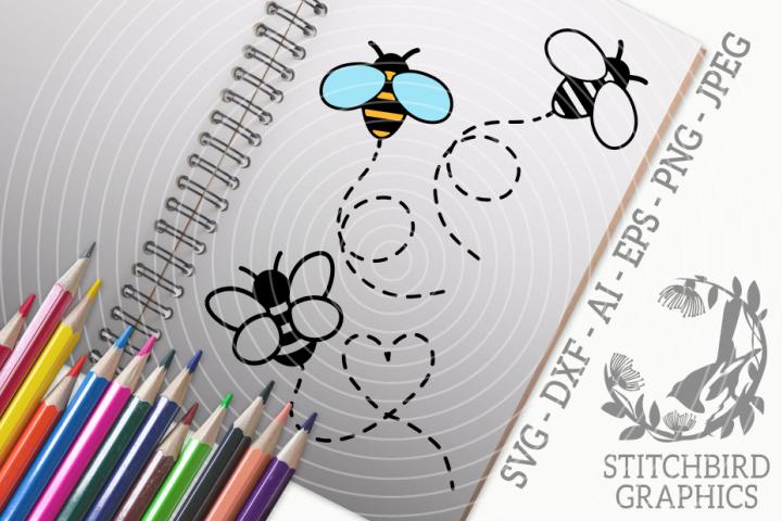 Cute Bees Bundle SVG, Silhouette Studio, Cricut, Eps, JPEG