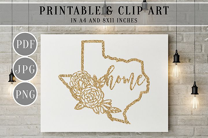 Gold Glitter Texas Map Printable, Clip Art, Home Wall Art