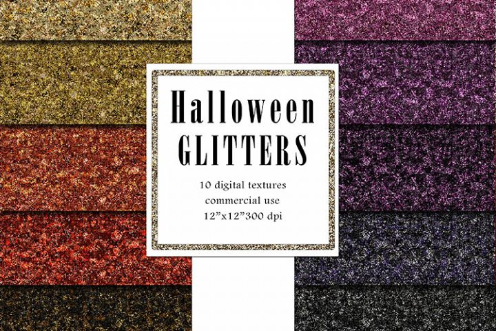 Halloween Glitters, Dark Purple, Black Glitter Texture