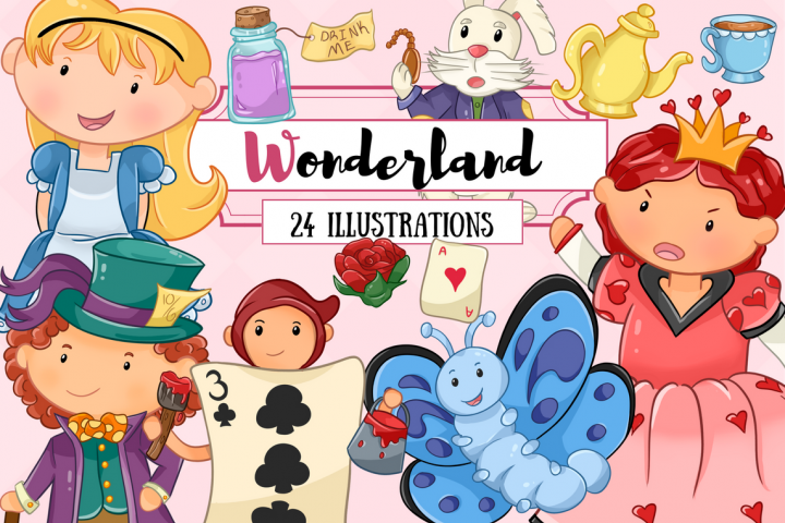 Wonderland Story Book Clip Art Set