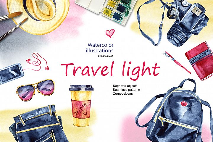 Travel light. Watercolor set