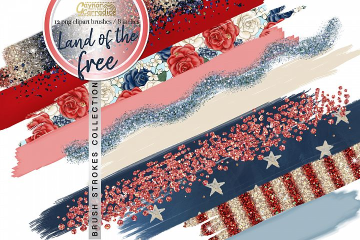 4th of July paint brush strokes collection