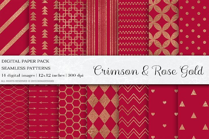 Crimson Rose Gold Digital Papers, Rose Gold Seamless Pattern