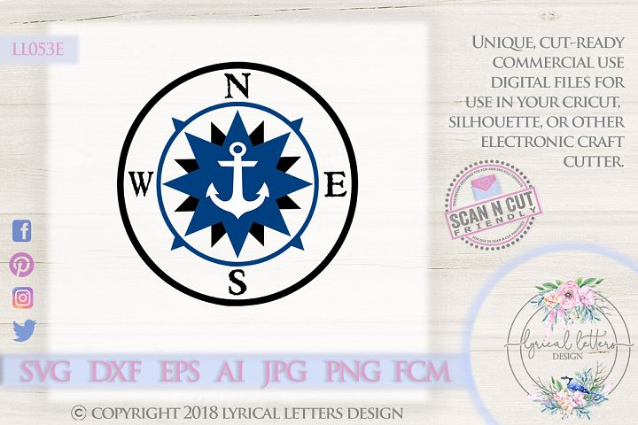 Compass with Anchor SVG DXF FCM LL053E