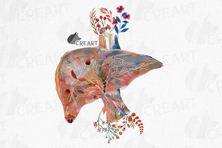 Autumn blooming liver decor design. Floral human liver gift