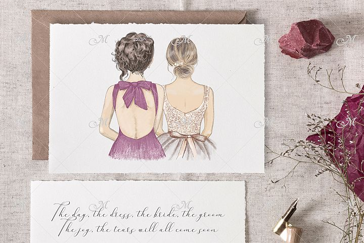 Bride & Bridesmaid illustrations
