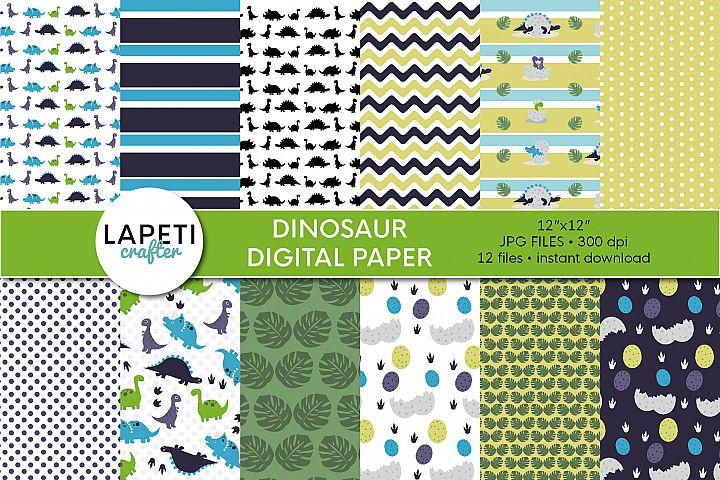 Dinosaur Digital Paper, 12x12 Digital Scrapbooking Paper