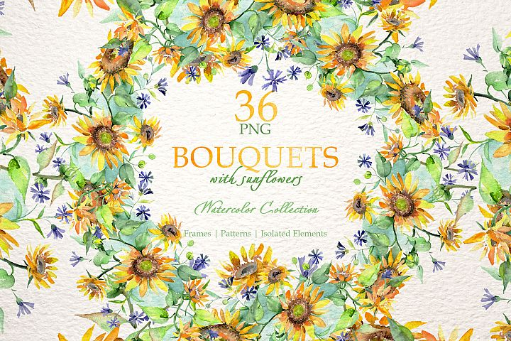Bouquets with sunflowers Watercolor png