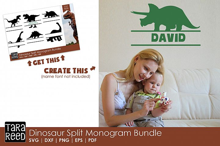 Dinosaur Split Monogram Bundle example 2