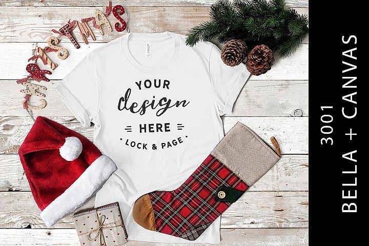 White Christmas Festive Themed T Shirt Mockup Bella Canvas