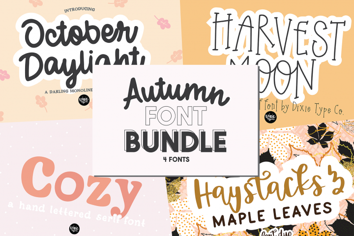 Autumn Font Bundle - 4 Hand Lettered Fall Fonts