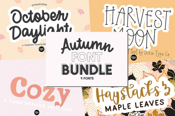 Autumn Font Bundle - 4 Hand Lettered Fall Fonts