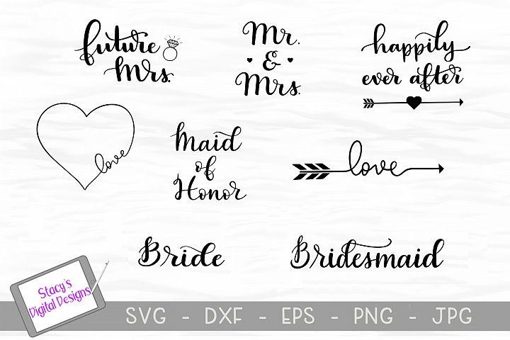 Wedding SVG Bundle / Bridal SVG Bundle, handlettered
