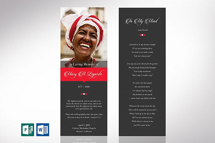 Remember Funeral Bookmark Word Publisher Template