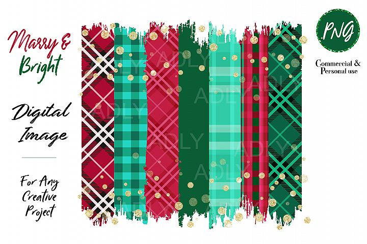 Merry Christmas Red Green Brush Stroke Plaid Background