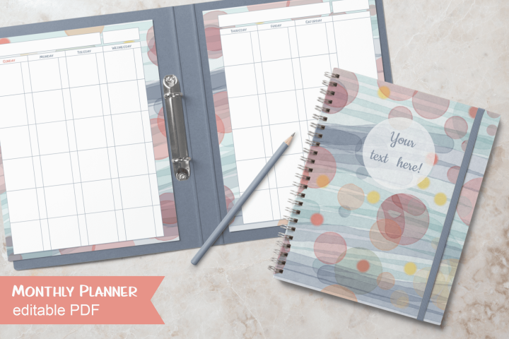 Watercolor Undated Monthly Planner Letter Size Editable PDF