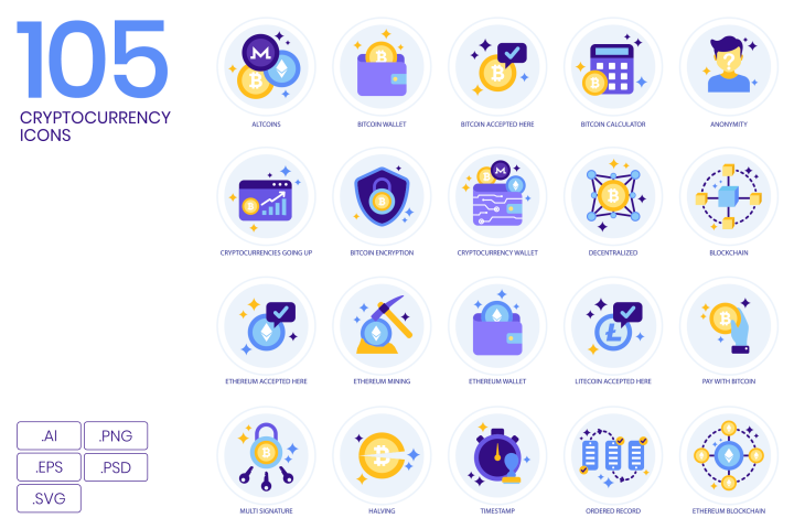 105 Cryptocurrency Icons Lavender Icons