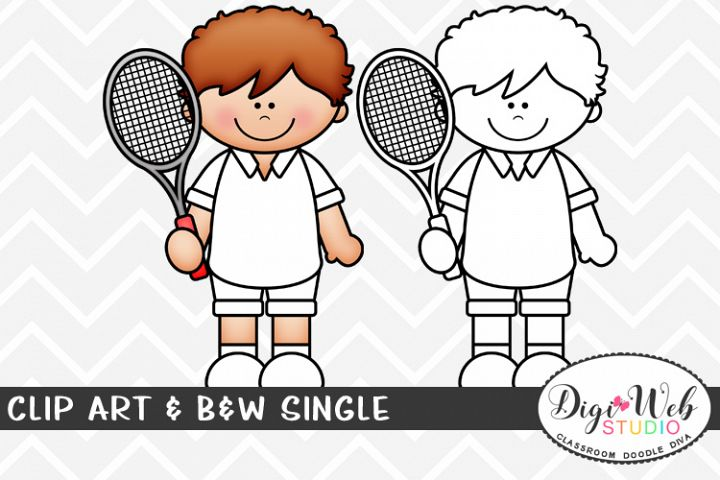 Clip Art & B&W Single - Tennis Player - Sports Boy