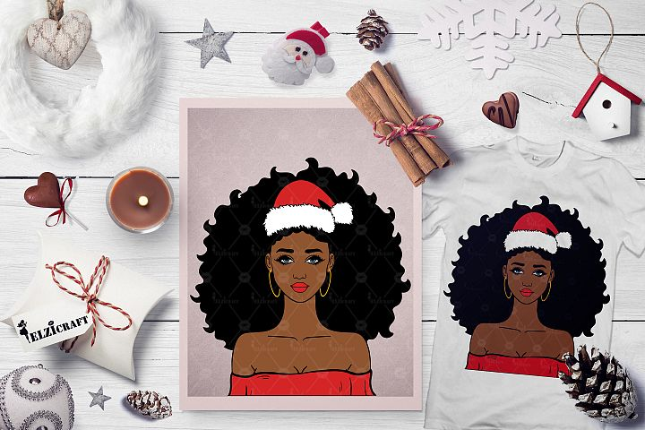 Christmas Afro Girl Santa Hat Melanin Poppin SVG Cut File