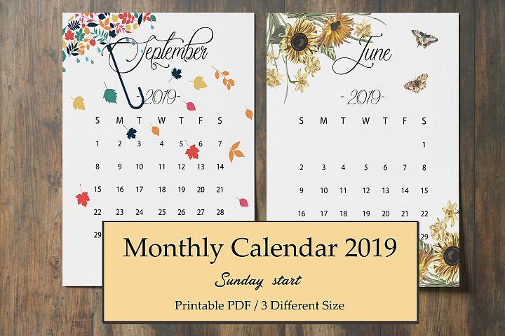 Calendar 2019, Printable Calendar, 2019 Monthly Calendar