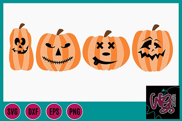 Pumpkin Halloween Funny Faces SVG DXF PNG EPS