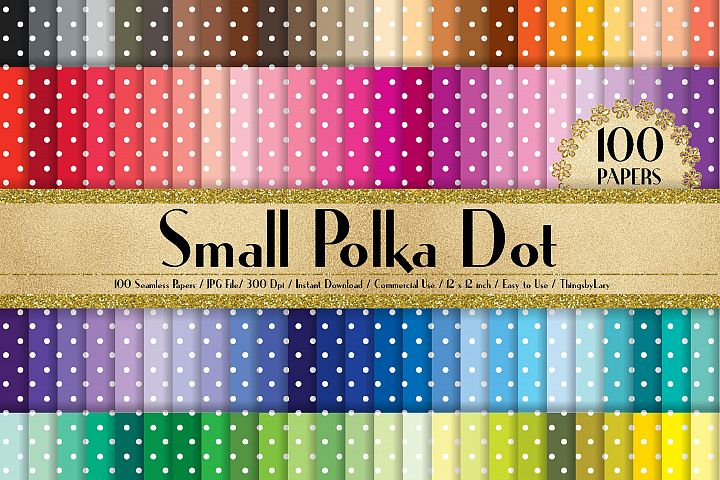 100 Seamless Small Polka Dot Digital Papers 12 x 12 inch