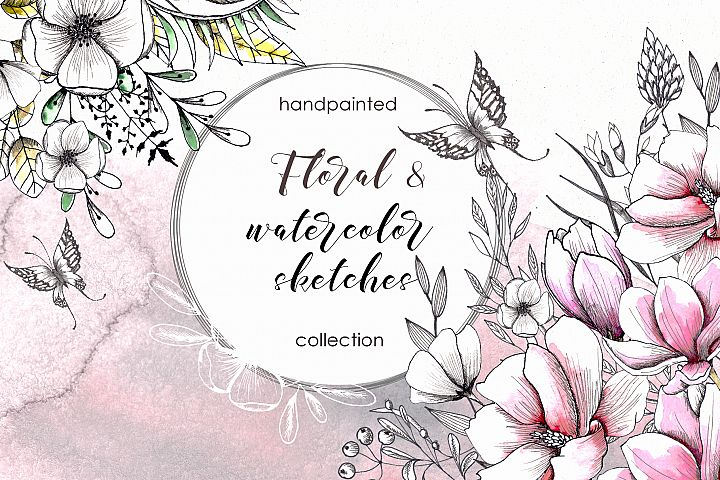 Floral watercolor & sketches wedding handpainted collection