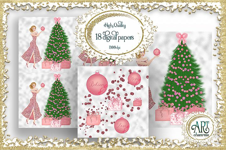 Pink Christmas Glitter Digital Papers JPEG