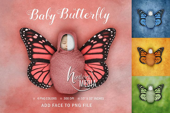 Newborn Baby Face Swap Digital Butterfly Portrait