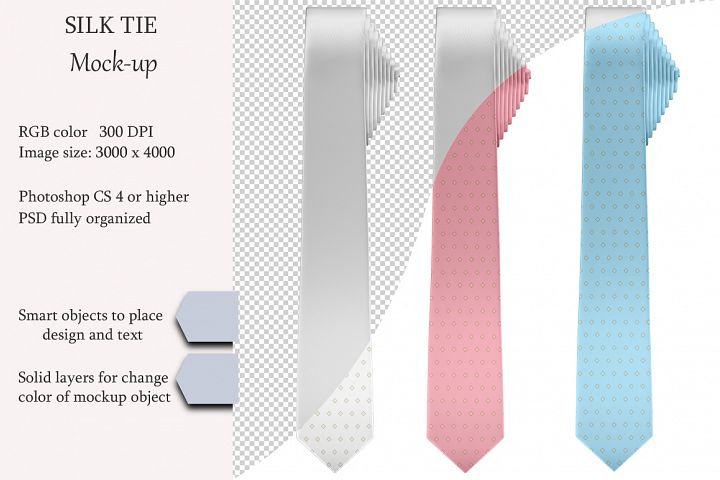 Silk tie mockup. Front view. Product mockup.