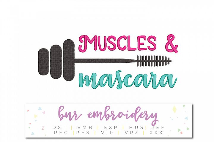 Muscles and Mascara Machine Embroidery Design, Fitness