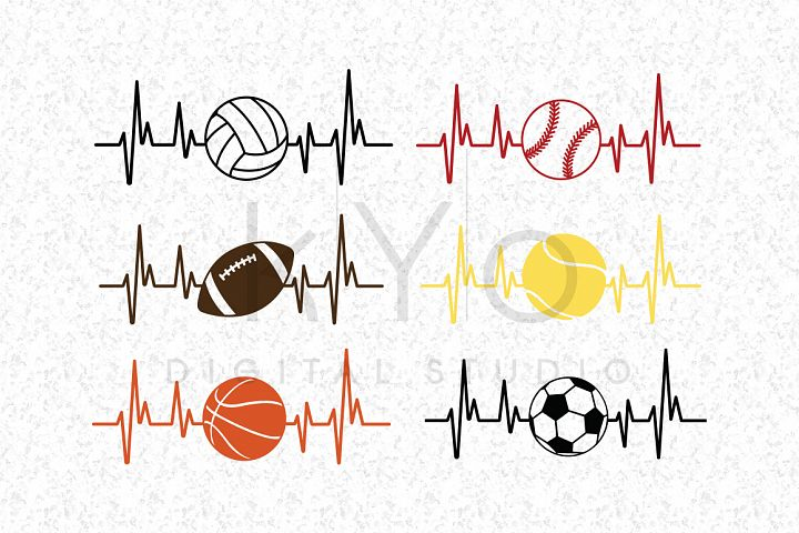 Sports ball heartbeat svg dxf png bundle