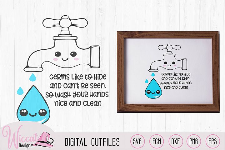 Kawaii water tap with hand washing rhyme, Cute hygiene rules