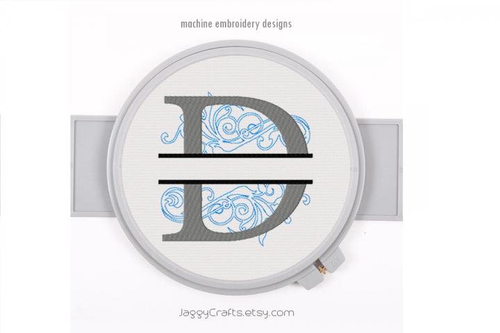Embroidery Fonts Split Monogram D, Monogram Fonts Design