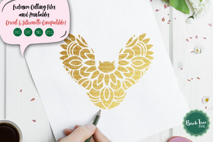 Owl Mandala Svg, Owl Svg, Flying Owl Svg Cutting File