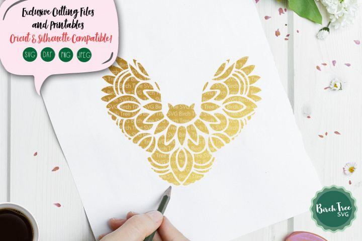 Owl Mandala Svg, Owl Svg, Flying Owl Svg Cutting File