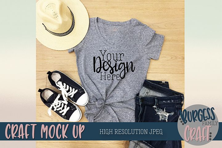 Styled summer t-shirt Craft Mock up | High Resolution JPEG example