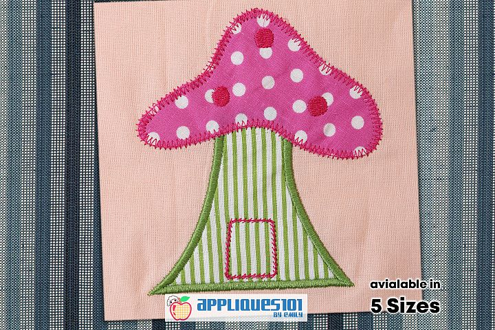 Mushroom House Embroidery Applique Design - Mushrooms