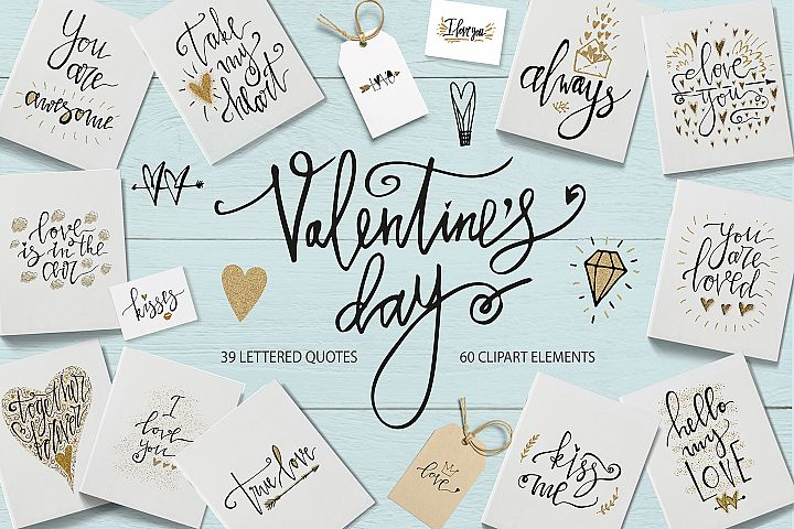 Valentines Day Lettering & Clipart