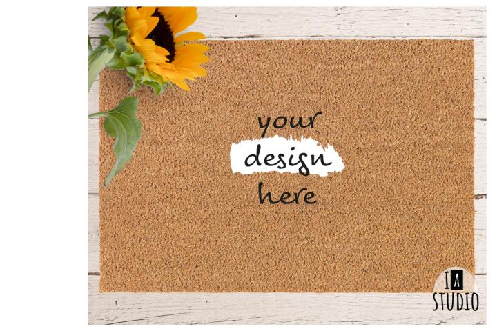Doormat Mockup / Sunflower Doormat Mockup