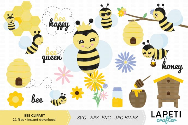 Bees Clipart, eps, png, svg, jpg files, bee decor