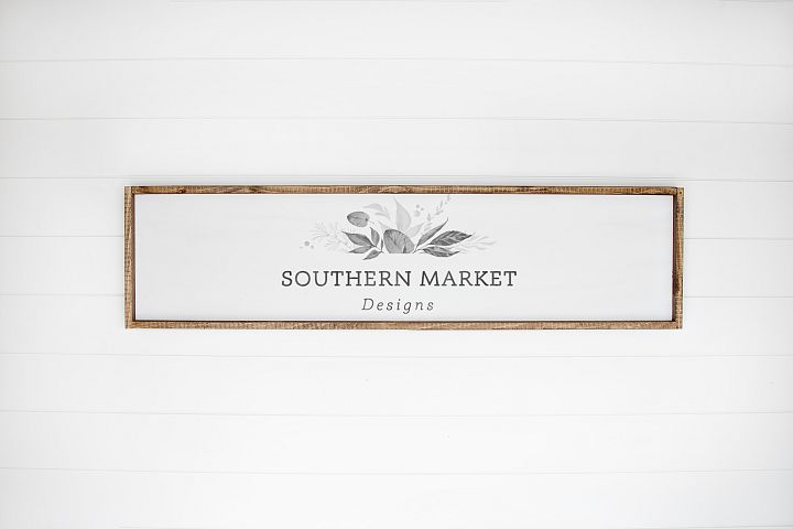 12x48 Wood Sign Mock Up Styled Stock Photo