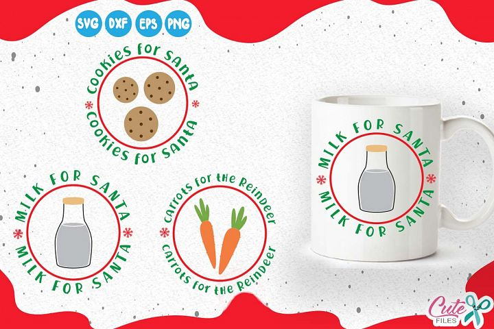 Cookies and milk for santa, carrots, Christmas Eve svg