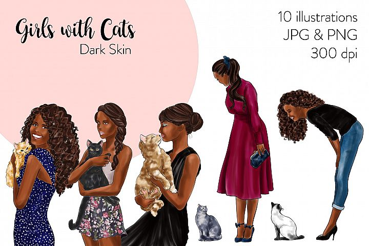Fashion illustration clipart - Girls with Cats - Dark Skin